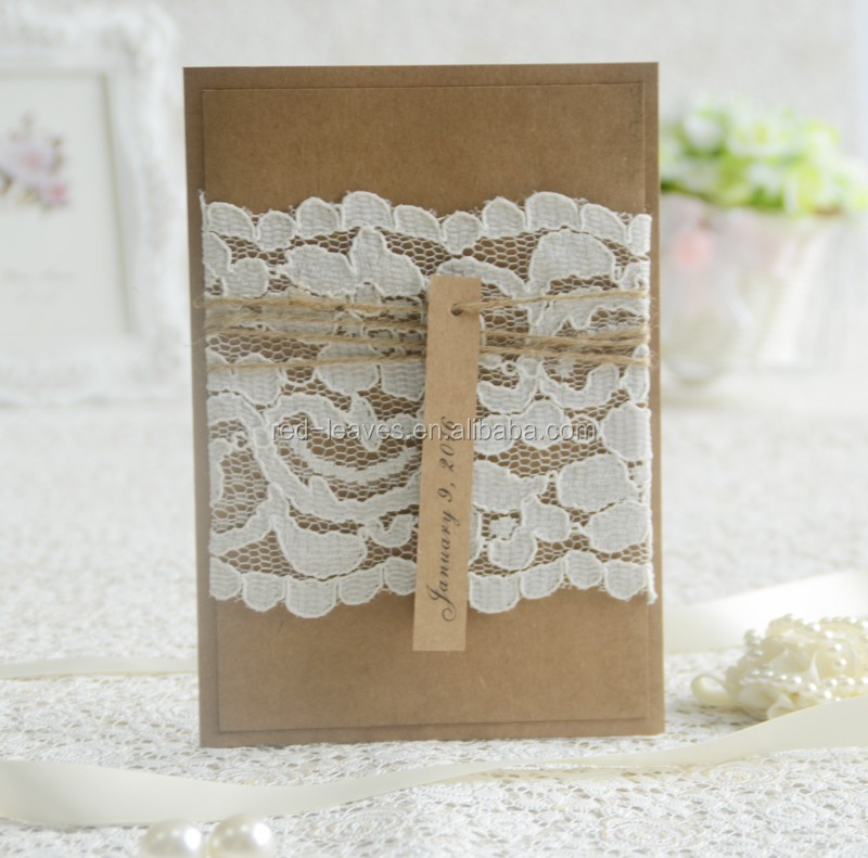 250gsm Craft Paper Laminated Wedding Invitations With Lace Wedding ...