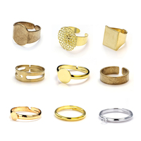 Adjustable Brass Finger Ring Blank with Square Brass Bezel