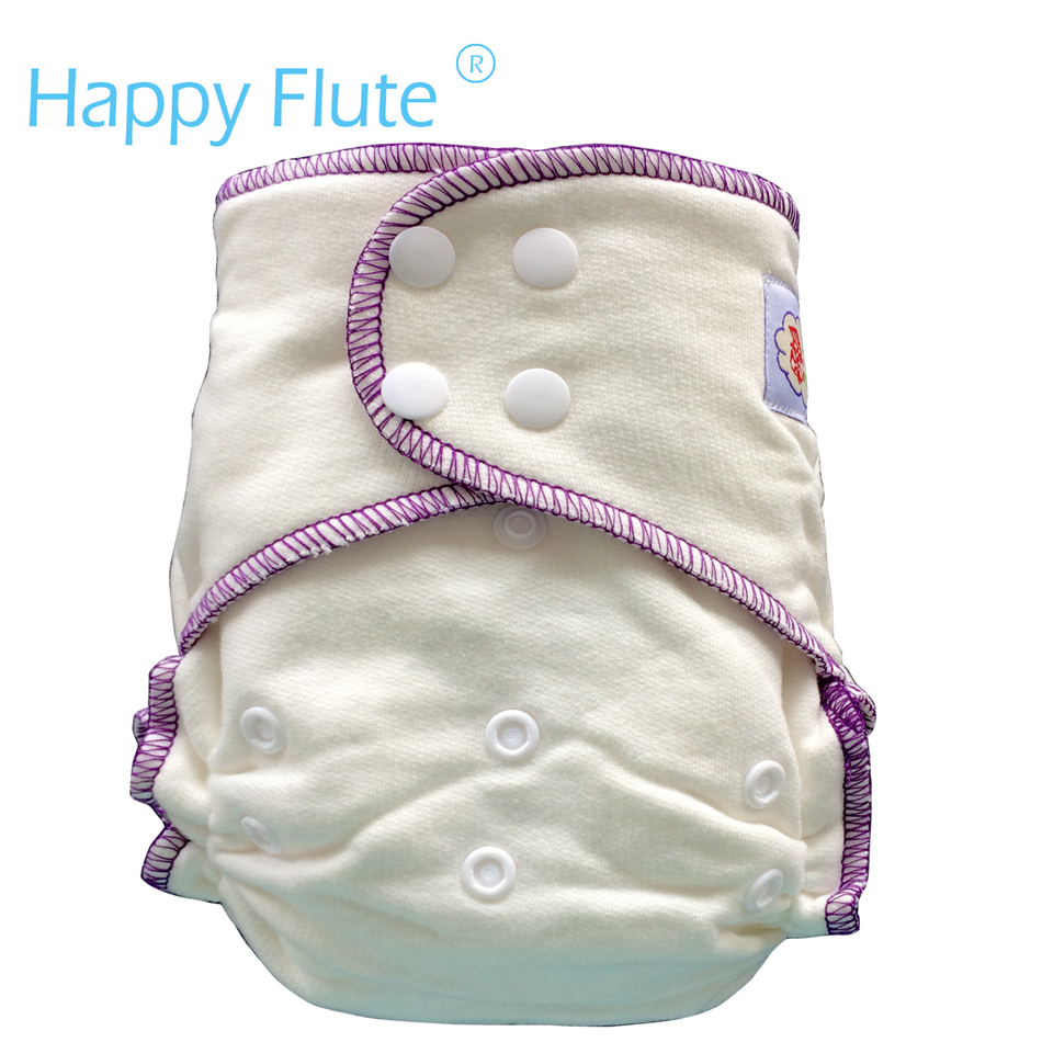 Happy Flute Onesize Bamboo Cotton Fitted Diaper, Natural