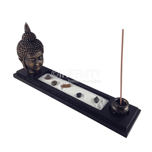 Home Decoration Tabletop Zen Garden With Buddha Figurine Rocks White Sand Wooden Tray And Incense Burner
