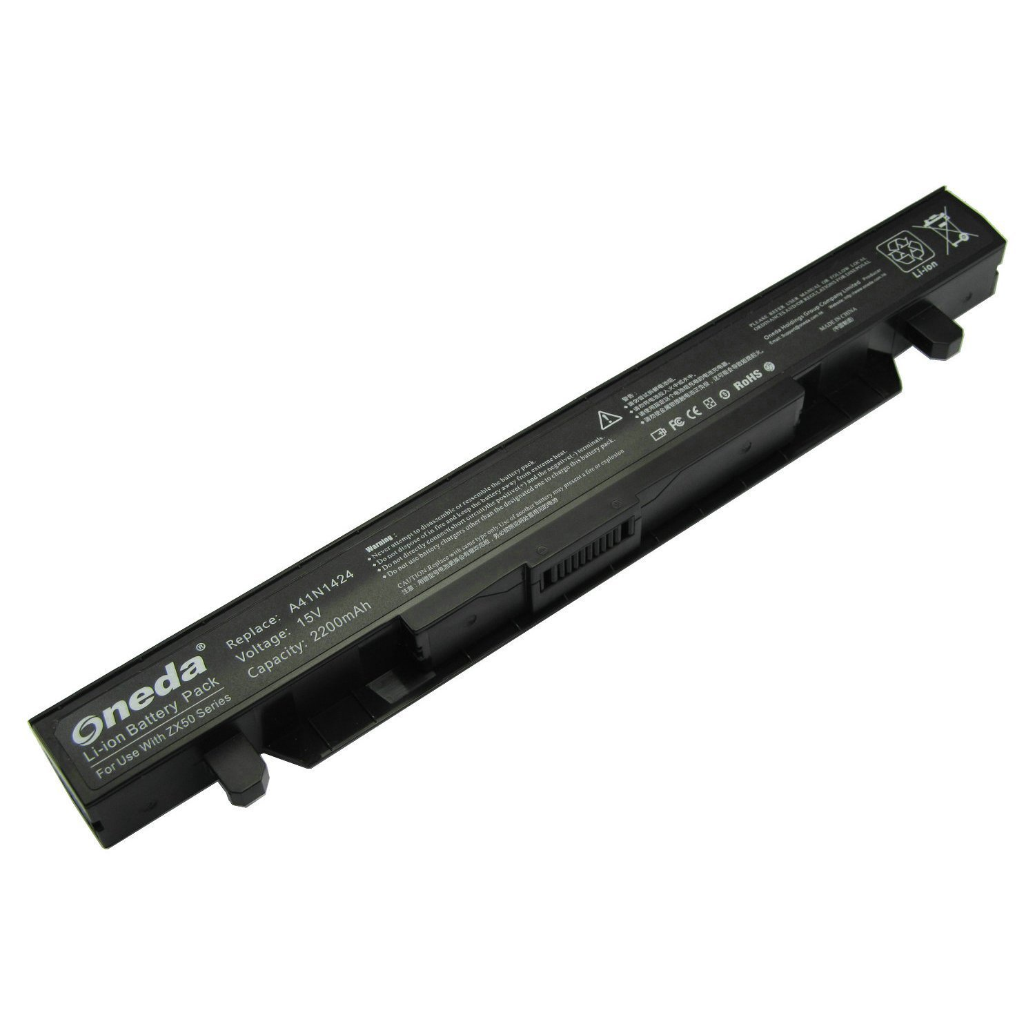 Oneda Laptop Notebook Battery for Asus FX-PLUS Series; Asus ROG FX-PLUS Series; Asus ZX50 ZX50J ZX50JX GL552 GL552J GL552JX GL552V GL552VW Series; P/N: A41N1424 Replacement batteries [4-cell /2200mAh]