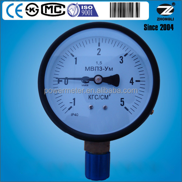 IP40 100mm steel case exported pressure gauges to Russia Accuracy 1.5