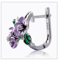 Joacii New Design Flower Shape 925 Silver China Jewelry enamel craft CZ Jewelry Ring with 18K Gold Plated for Men and Women