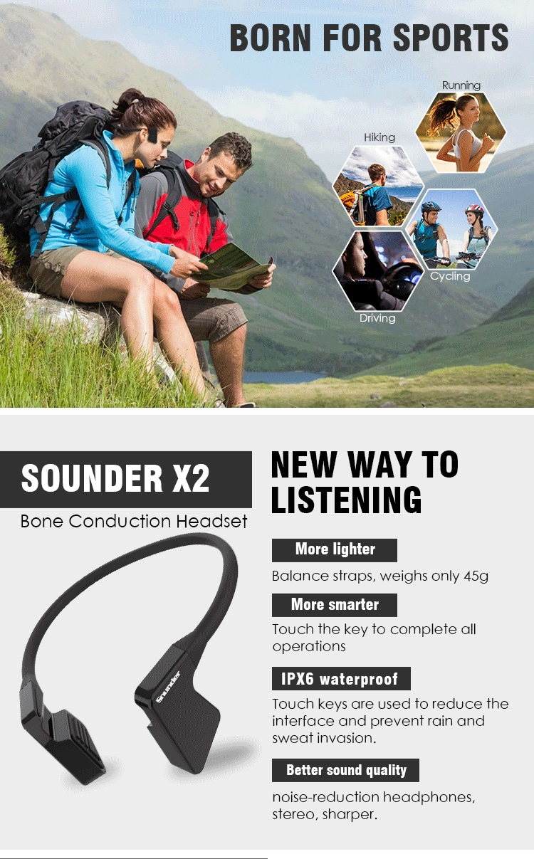 mobile phone accessories latest waterproof bone conduction hearing aid silicone earphone suction cup educational headphone wirel