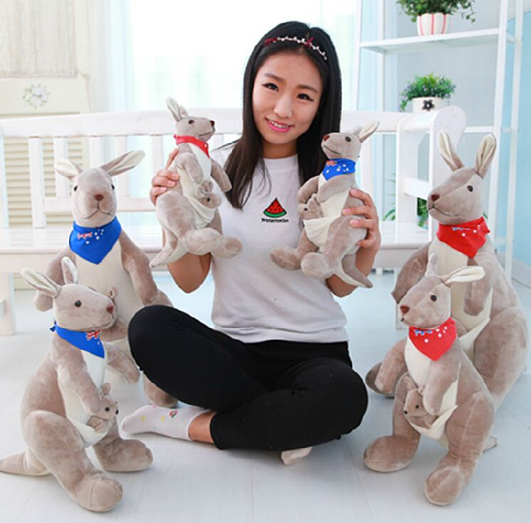 "Lovely kangaroo plush toys 1pcs 14""35cm The Australian kangaroo toy dolls Children's gift Australia Soft Stuffed Plush Animal"