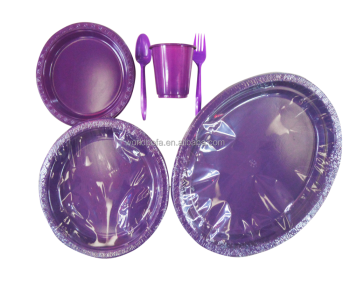 Purple Disposable PS Party Plastic Tableware Cutlery Set For Kid Birthday Party Supply