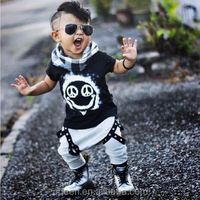 HT-BO boutique 2017 New summer baby boys tee clothes infant cloth boy t shirt with plaid shorts 2 pcs kids outfits set wearing