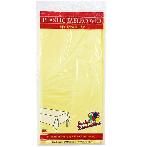 Plastic Party Tablecloths - Disposable, Rectangular Tablecovers - 4 Pack - Yellow - By Party Dimensions
