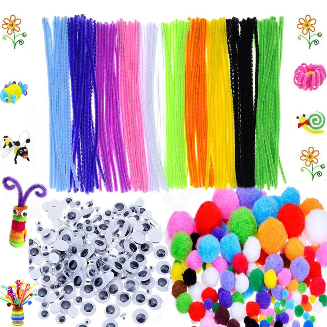 BellaBetty 500 Pcs Craft Supplies Set Which Includes 100 Pcs Pipe Cleaners Chenille Stem, 250 Pcs Pom Poms, 150 Pcs Wiggle Googly Eyes for School Art Projects by