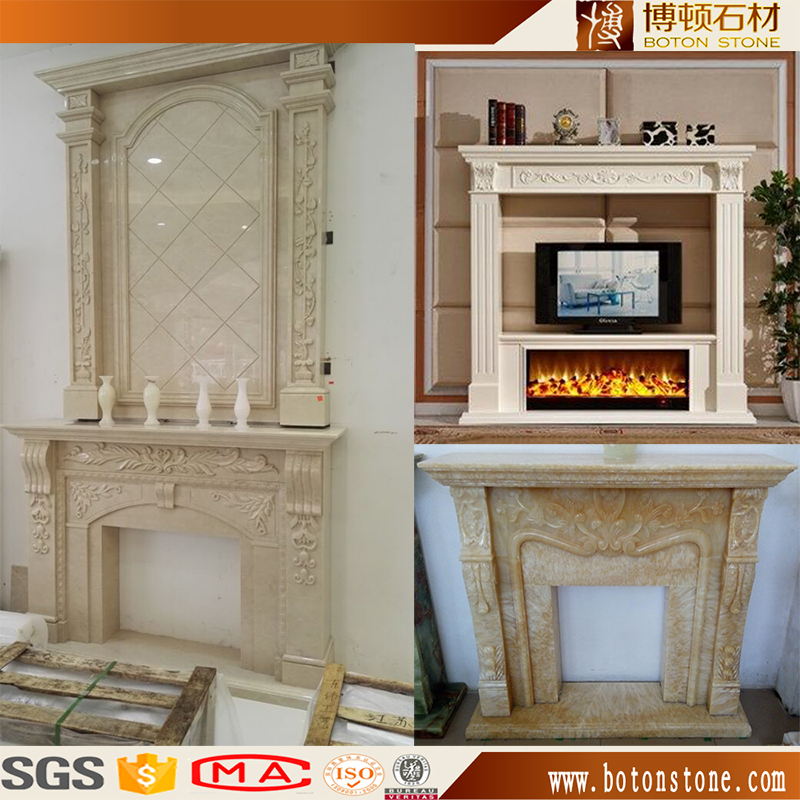 BOTON manufacturer stone fire place sale carved beige marble fireplaces