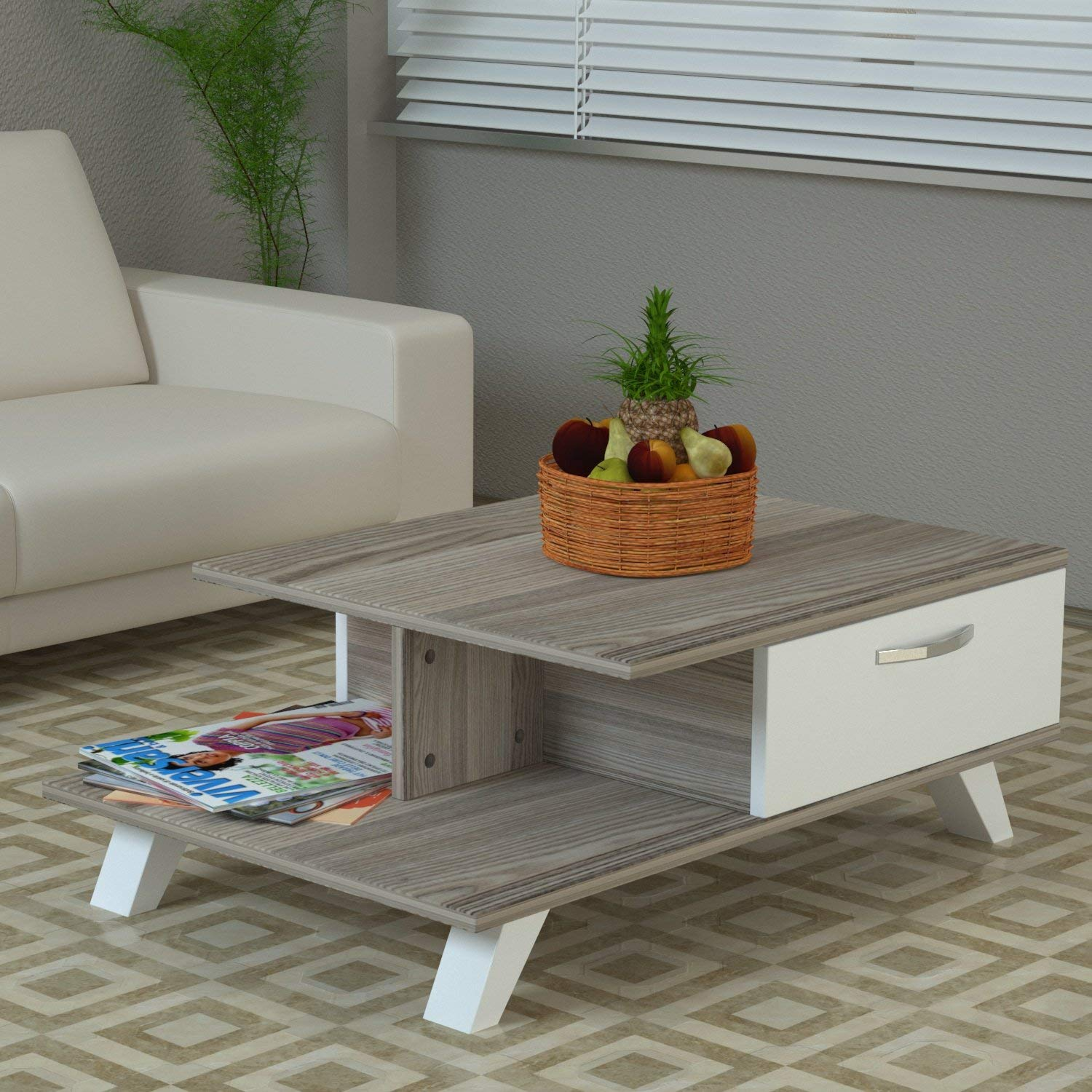 LaModaHome Modern Style Coffee Table - White-Grey Coffee Table Wooden Resistant Table - Cocktail Table with Storage - Best Choice For Quality - For Home, Office, Living Room and More