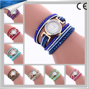 Fashion Women Vintage Crystal Rivet Wrap Watch Leather Braided Wind Wrap Analog Quartz Ladies Watches WW072