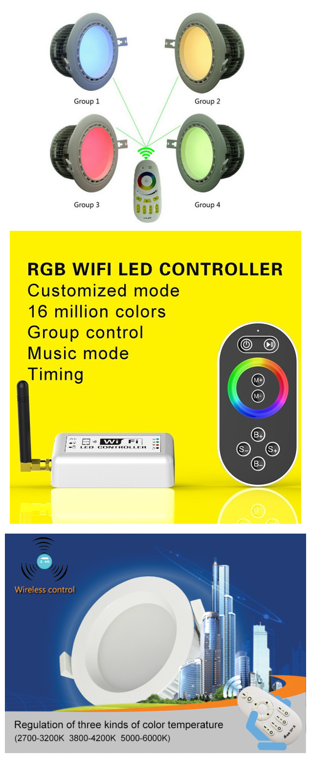 Ip65 Wifi Control Led Downlight High Power 6W Cob RGBW Led Downlight Indoor Remote Control Led Downlight