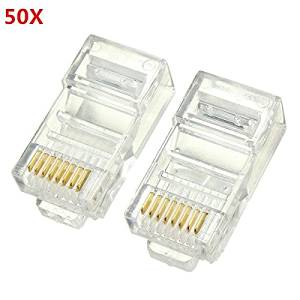 50PCS RJ45 Plug Ethernet Gold Plated Network Connector / 50PCS RJ45 Plug Ethernet Gold Plated Network Connector . . Specifications: . Color: Clear . . Pin: 8 . . Dimensions: 2.2x1.1x1.3