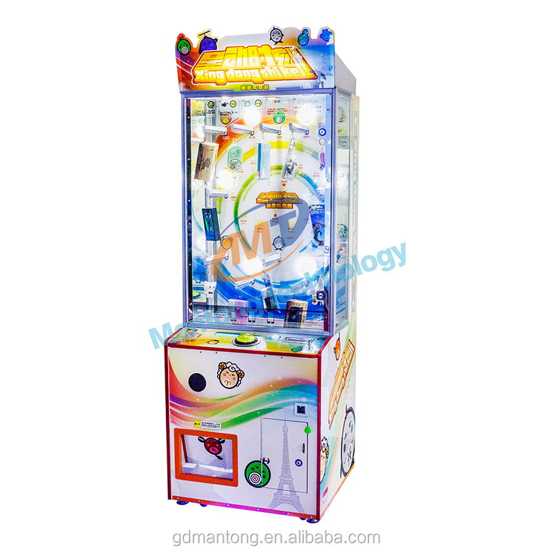 Merchandiser arcade game machine skill with prize able to be set by the operator coin operated