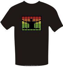 cheap popular hi everybody night club led t-shirt el music activated t-shirt with high brightness