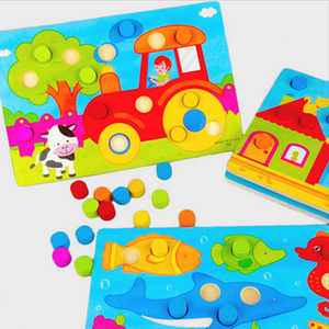 Educational Color Cartoon Toddlers Jigsaw Wooden Puzzle