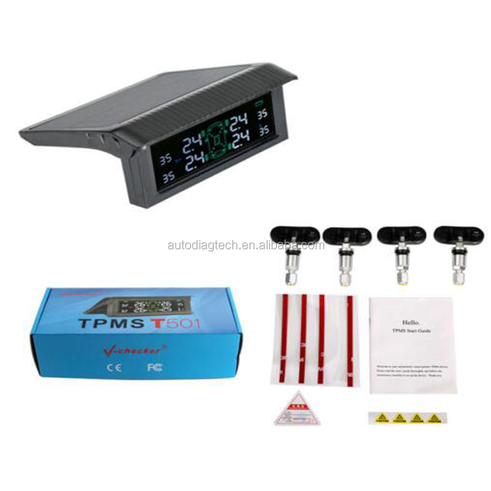 Hot Selling Vehicle Digital Internal Solar Power Car TPMS, Factory Supply T501 Tire Pressure Monitoring System