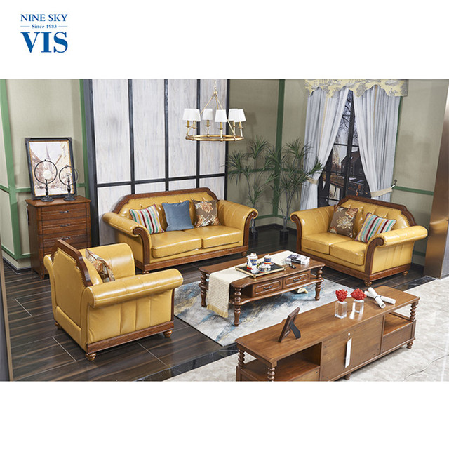 New Style Luxury Solid Wood Mid Century Malaysia Made Furniture Leather Sofa  Industrial