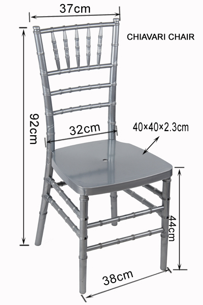 Stylish metal texture silver color resin chiavari chair for Chair design with dimensions