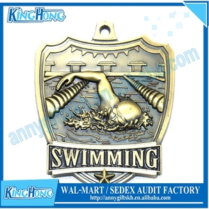 Commemorative antique bronze swimming sports medal