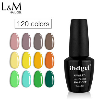 Ibdgel Alta Gloss Organico Smalto di Chiodo Del Gel Semi-permanente Polacco di Chiodo UV Del Gel 120 Colori 15 ML