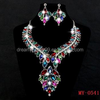 Стильный позолоченный разноцветные цветочные серьги листьев и ожерелье,  свадебные украшения, наборы для свадебного платья 14c840ceb57