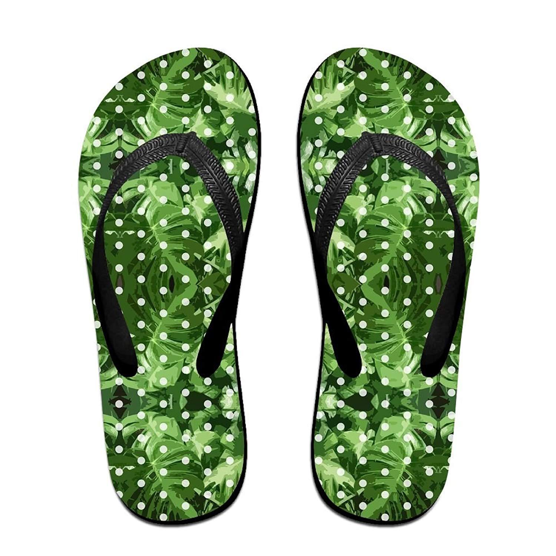 Unisex Summer Beach Slippers Leaf Prints Flip-Flop Flat Home Thong Sandal Shoes