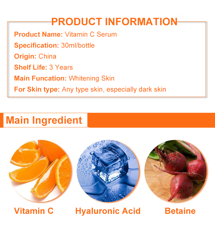 OEM Private Label Pure Natural Skin Whitening Vitamin C Serum For Face