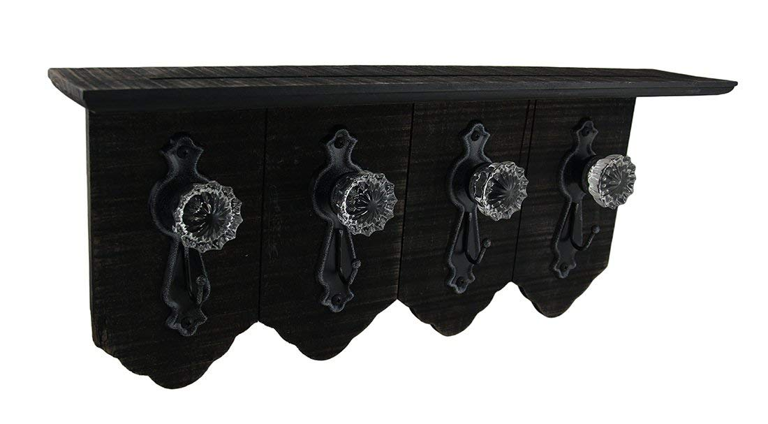 Zeckos 4 Antique Style Doorknobs With Key Hooks On Distressed Wood Wall Shelf Wood & Metal Decorative Wall Hooks Brown