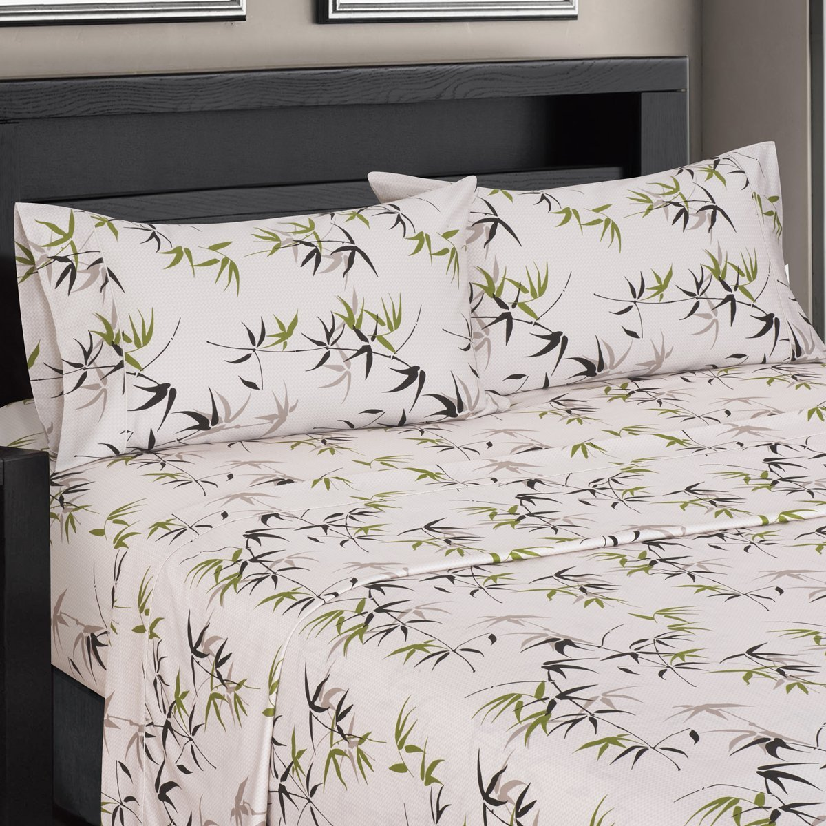 Fern Floral Sateen Cotton Sheets, 4pc Queen Bed Sheet Set 100% Cotton, Superior Sateen Weave, Silky Soft, Deep Pocket, Modern Reactive Print, 300 Thread Count