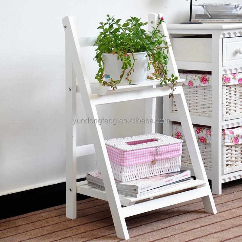 Decoraci n de madera plegable planta con dos estantes - Madera para estantes ...
