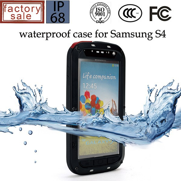 For Samsung Galaxy S4 waterproof metal gorilla glass case