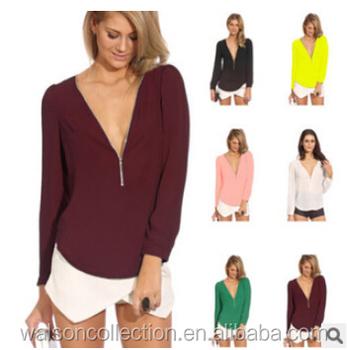 eba182a8e6b Women Summer Loose Shirt Casual Chiffon Long Sleeve Deep V Neck Tops  Blouses - Buy Loose Casual Chiffon Sleeveless Vest,Vest Shirt Tops  Blouse,Vest ...
