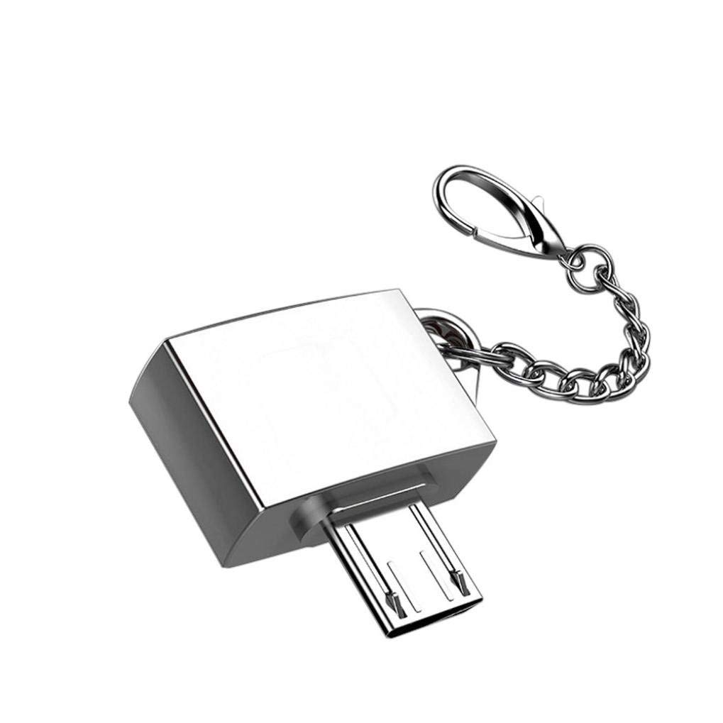 Exteren OTG Converter Adapter Metal Micro USB Male To USB 2.0 Micro USB OTG Adapter With Key Chain (Silver)