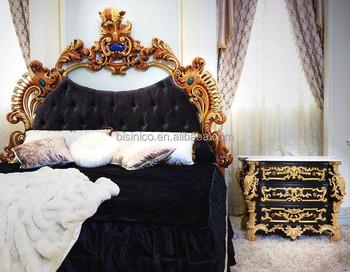 franse luxe rococo ontwerp slaapkamer meubels nachtkastje tafelgouden gesneden houten commode nachtkastje