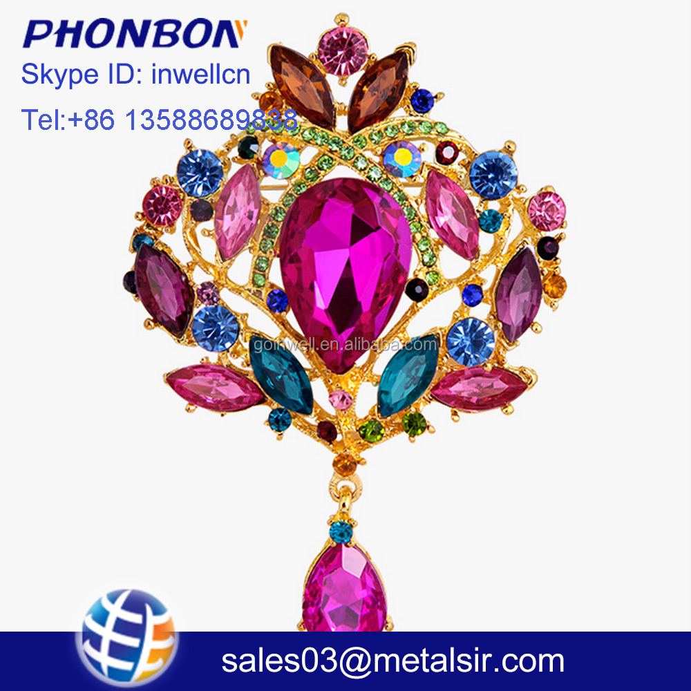 2017 Hot sale jewelry alloy brooch, brooch for wedding invitations