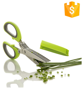 China wholesale household utensils stainless steel herb scissors set 7 blades accessories kitchen scissors