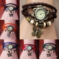 Leather Butterfly Bracelet Quartz Movement Bangle weave wrap Retro Bracelet Wrist Watch for Girl