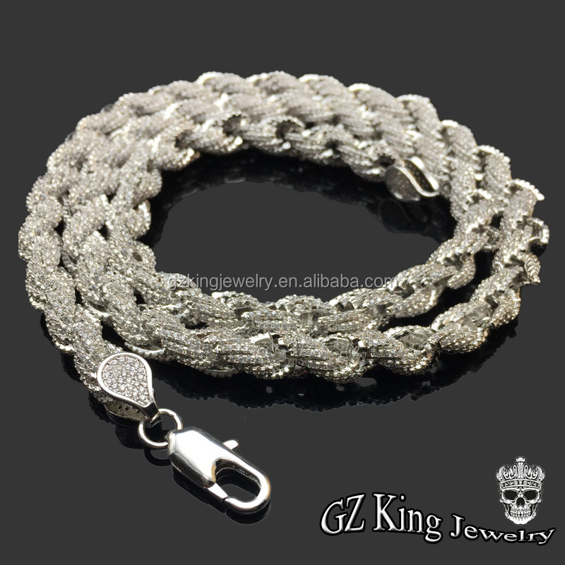 Latest design!925 sterling silver 14k gold chain micro pave cz men's rope chain