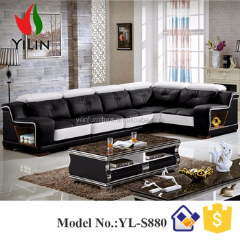 U Shape Black Match White Genuine Sectional Leather Sofa Set China Leader Living Room Supplier S3193