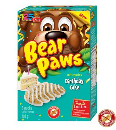 Dare Bear Paws Birthday Cake Soft Cookies 168g - Peanut Free - {Imported from Canada}