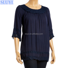 Wholesale women t shirt merchandising companies cheap custom 3/4 sleeve tshirt overruns from bangladesh tee shirts