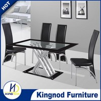 dinning table and chairs,dining table sets,glass and metal dining room furniture