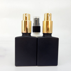glass perfume e liquid e cig spray bottle 30ml 50ml airless pump bottle with gold / plastic cap