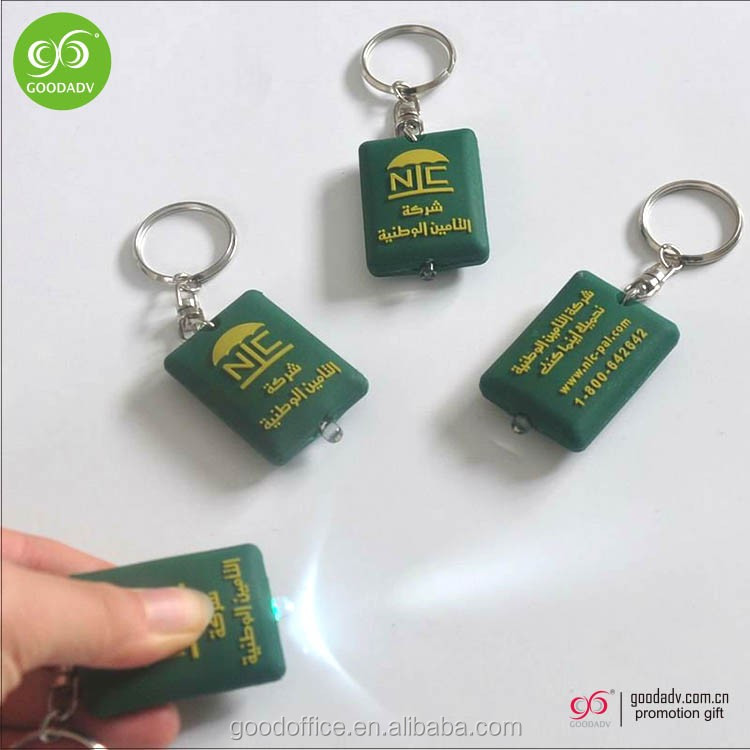 Promotion plastic led keychain light with metal keyring