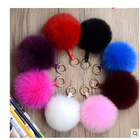 Hot Sale Colorful Real Fur Pom Poms Big Soft Fox Fur Ball Pendant Keychain