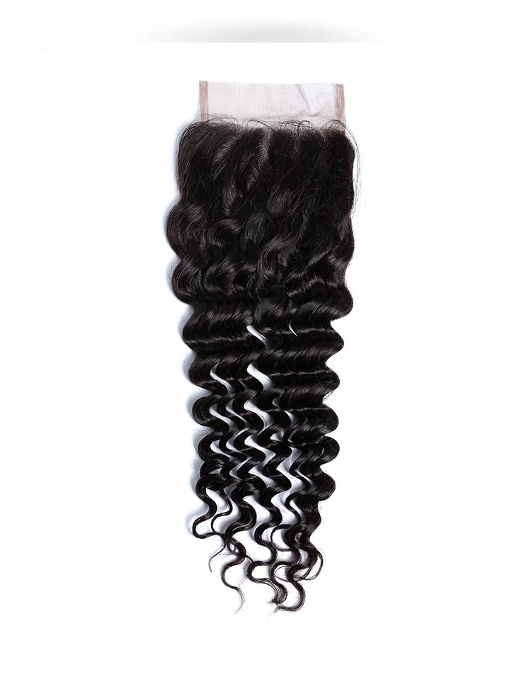 Best Sellers Cuticle Aligned Remy Natural Hair 100% Brazilian Virgin Human Hair closure deep Wave Bundles
