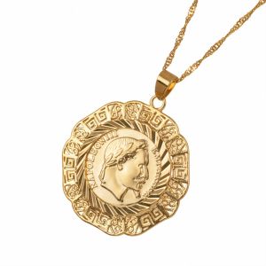 Bauna Gold Color Napoleon Empereur Coin Pendant Necklaces For Man