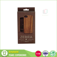 ShenZhen wooden color book shaped mobile phone case packaging box with hang hole